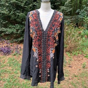 Johnny Was Biya Black Silk Embroidered Tunic